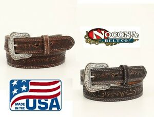 MADE-IN-USA-TOOLED-Leather-MAN-039-S-WESTERN-BELT-Silver-Buckle-NOCONA-N23007