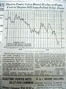 <1931 NY Times newspaper w GRAPHIC CHART of GREAT DEPRESSION Electricity Usage
