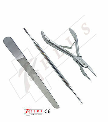 Podiatry Chiropody Ingrown Nipper + Daimand file + Black file Autoclavable CE