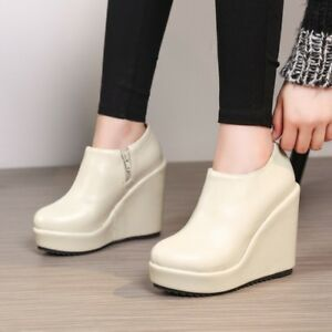Women-High-Wedge-Heel-Platform-Ankle-Boots-Round-Toe-Casual-Pumps-Shoes-Zipper