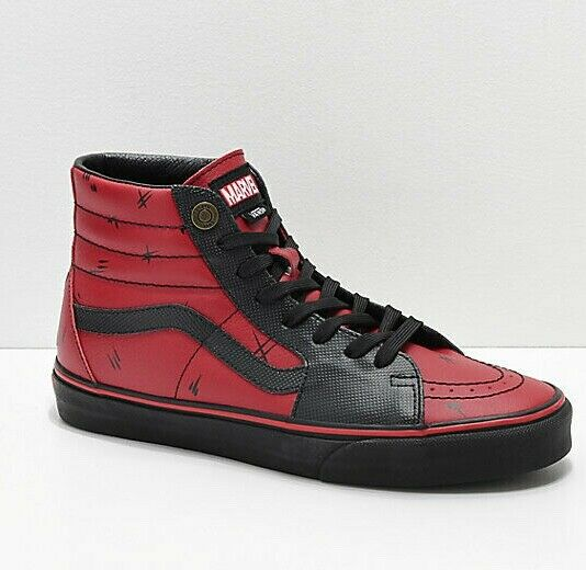 Mens Vans x Sk8 Hi Marvel Deadpool Skateboard Shoes Red Black