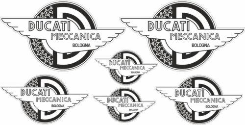 KIT 6 ADESIVI DUCATI MECCANICA RACING BIANCO NERO DUCATI OLD VINTAGE COD123