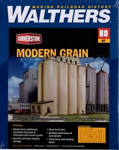 Walthers Cornerstone HO Scale Building//Structure Kit Grain Head House w//Silos