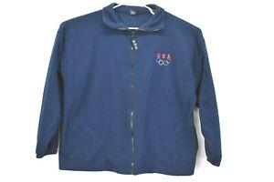 USA-Olympics-Unisex-2XL-Vintage-Full-Zip-Fleece-Jacket-Navy-Olympic-Rings