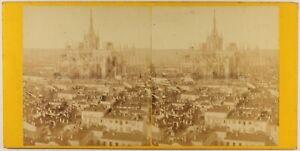 Italia Milan Panorama Da La Ville Cattedrale Foto Stereo c1865 Vintage Albumina