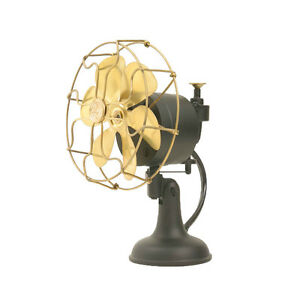 6-034-Blade-Electric-Table-Fan-Oscillating-Orbital-Work-Vintage-Metal-Brass-Antique