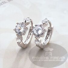 FASHIONS FOREVER CubicZirconia Hoop-earring FFCZER010 Platinum-plated UKseller