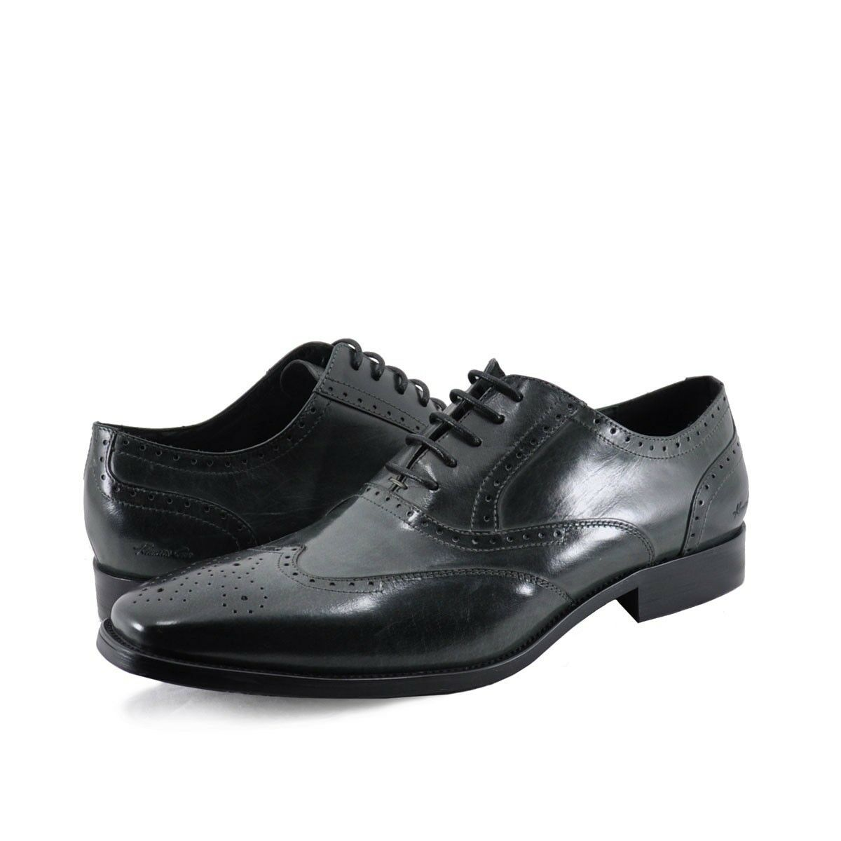 Men's shoes Kenneth Cole New York Locked Down Leather Wingtip Oxfords Grey New