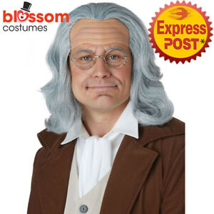 W623-Benjamin-Franklin-Adult-Costume-Wig-Hair-Renaissance-Historical-Colonial