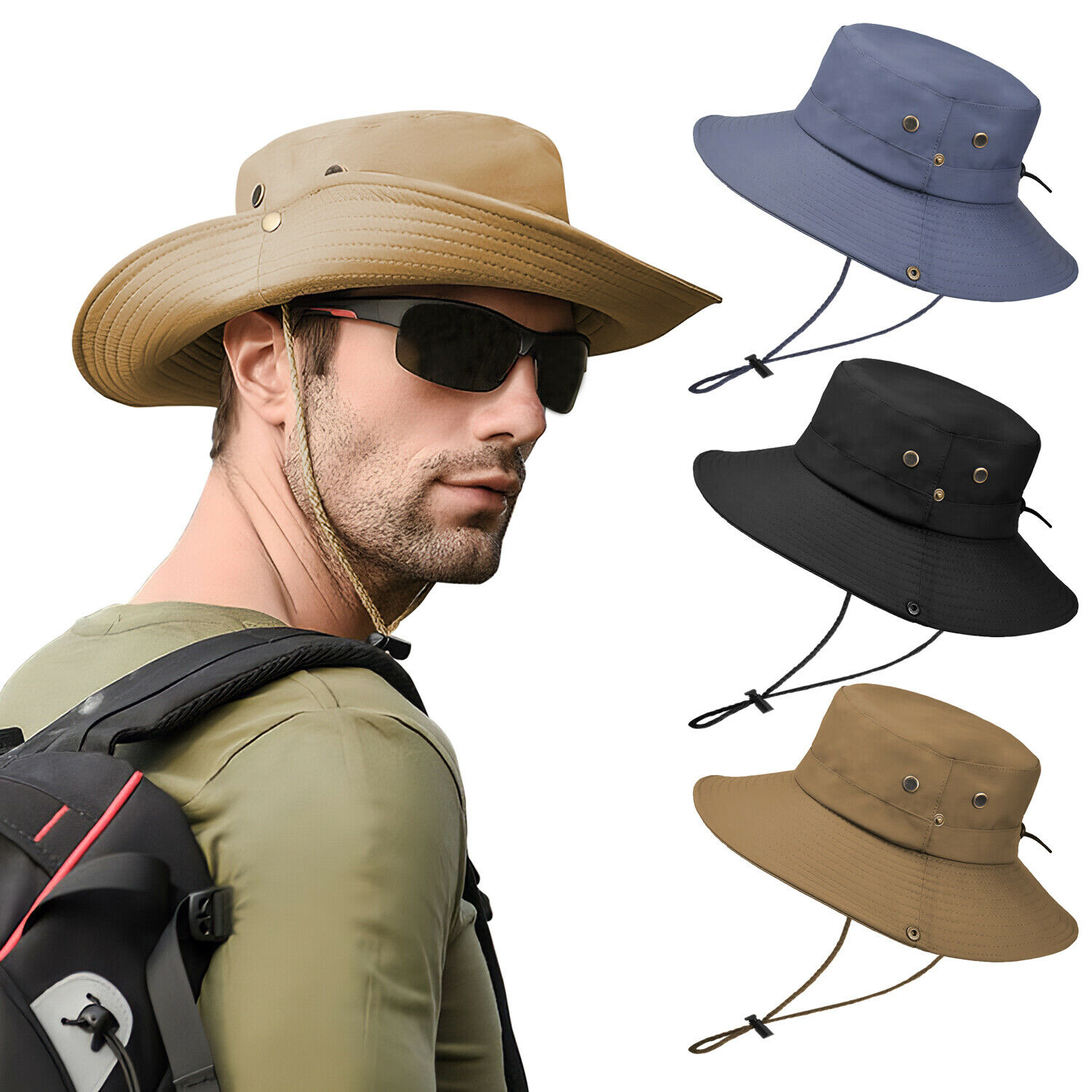 Sun Visor Hat UV Protection Cap Outdoor Wide Brim Fishing Hiking Trave... - s l1600