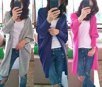 New Pullover Damen Lang Strickjacke Cardigan Pulli Oversize 36 38 40 42 SMLXL
