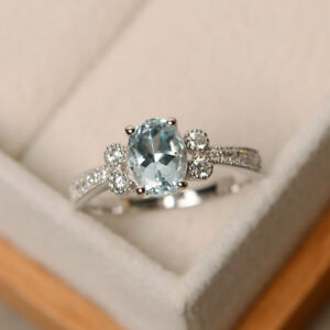 1-70-Ct-Natural-Diamond-Aquamarine-Ring-14K-White-Gold-Wedding-Rings-Size-N-J-K