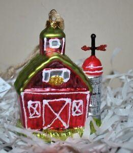 NEW-CHRISTMAS-FARM-BARN-Windmill-Tree-Glass-Blown-Ornament-3-5-034-Red