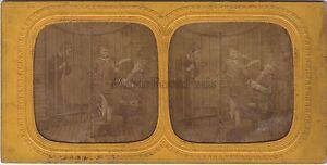 Scena Da Genere Bambini Stereo Diorama Tessuto Vintage Albumina