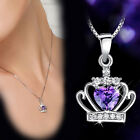 Fashion 925 Sterling Silver Plated Rhinestone Princess Crown Pendant Necklace