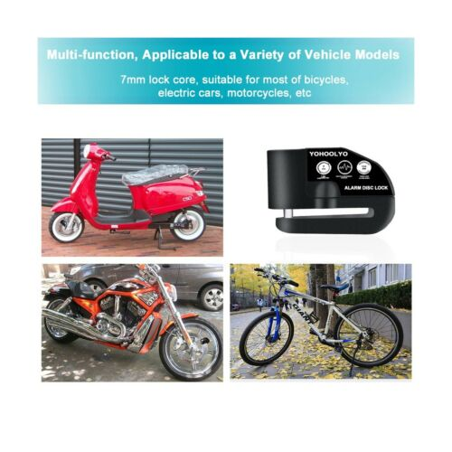 YOHOOLYO Disc Lock Alarm Motorcycle Alarm Padlock with 110db Alarm Sound for ...