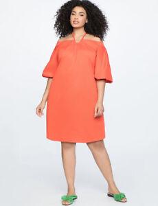 1c053c419eb606 ELOQUII Dress Sz 18 Orange Halter Neck Off The Shoulder Puffy Bishop ...