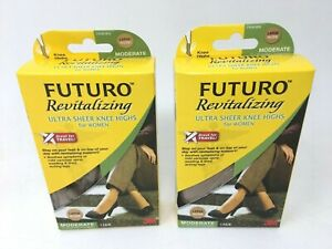 LOT OF 2 - FUTURO MEDIUM NUDE Energizing Ultra Sheer Knee
