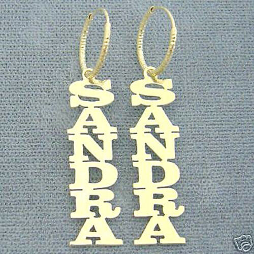 14K Gold Any Name Personalized Vertical Earrings Monogrammed Gifts GE01