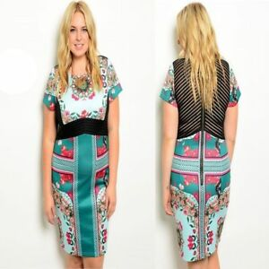 D88-New-Womens-Floral-Formal-Wedding-Evening-Work-Cocktail-Race-Party-Plus-Dress