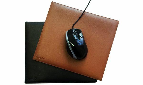 Alassio Mouse Pad Echtleder schwarz kunststoffbeschichtete Unterseite rutschfest