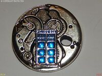 steampunk brooch badge silver mechanical clock workings tardis Dr Who police box