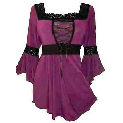 New Women Steampunk Flared Sleeve Lace-up T-Shirt Victorian Gothic Top Blouse
