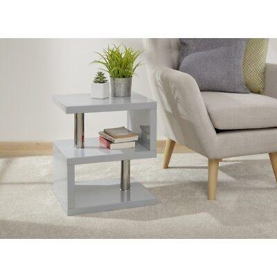 Lamp Table Furniture Polar High Gloss Led Side Table Grey 5060516212798 Ebay