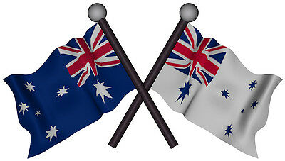 AUSTRALIA NAVI FLAG  Decal size APR 170 mm H by 90 mm W gloss laminated