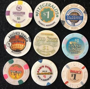 best quality newest collection discount shop Details about (9) Different Tunica Mississippi $1 Vintage Casino Chip Lot  Grand Sam's Bally's