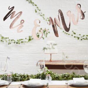 Mr & Mrs Rose Gold Foil Bunting Banner Wedding Garland Decoration Backdrop 1.5m