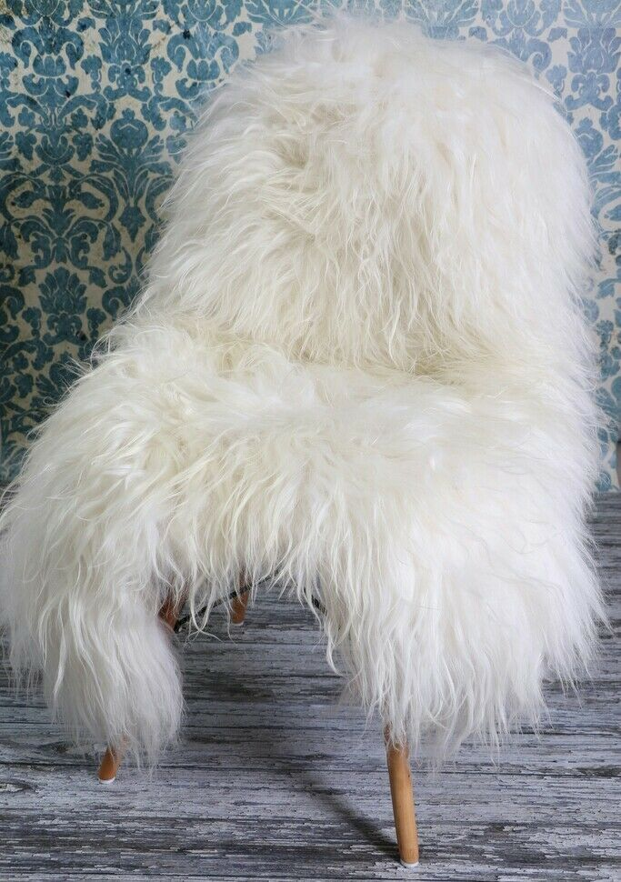 XXL ICELAND Sheepskin Rug, Soft Extra Long Wool, Ivory Cream, 130cm