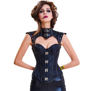 226995ee2cb Image is loading Steampunk-Overbust-Corset-Steel-Boning-Waist-Cincher- Bustier-