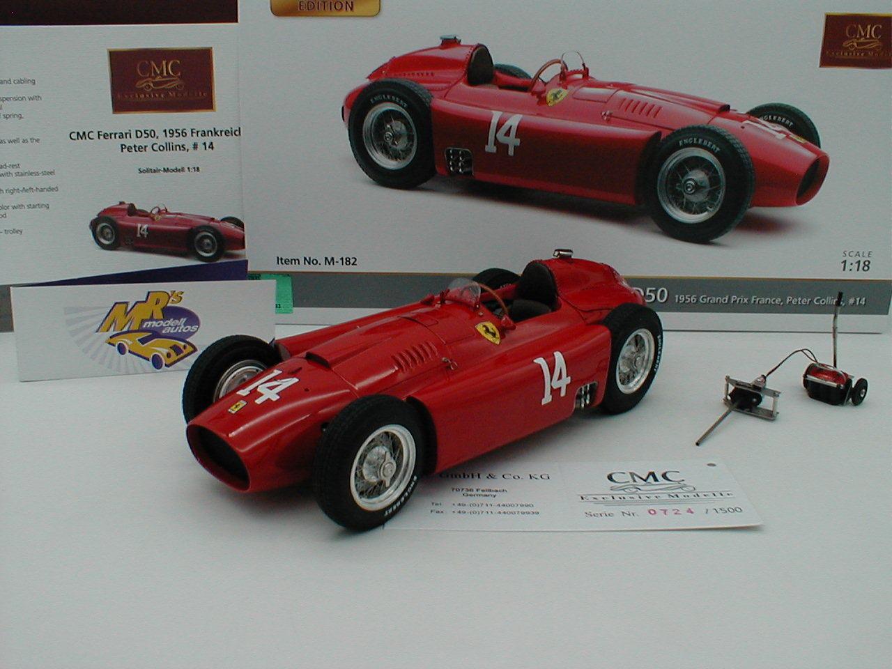 CMC m-182 - Ferrari d50 No. 14 France GP 1956  PETER COLLINS  1 18 NOUVEAUTÉ