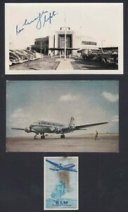 KLM-Airlines-DC-4-Postcard-and-LaGuardia-Airport-Photo-signed-Captain-Ron-George