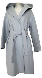 S' MAX MARA WOOL LIGHT BLUE WRAP COAT WITH HOOD, 4, $1780