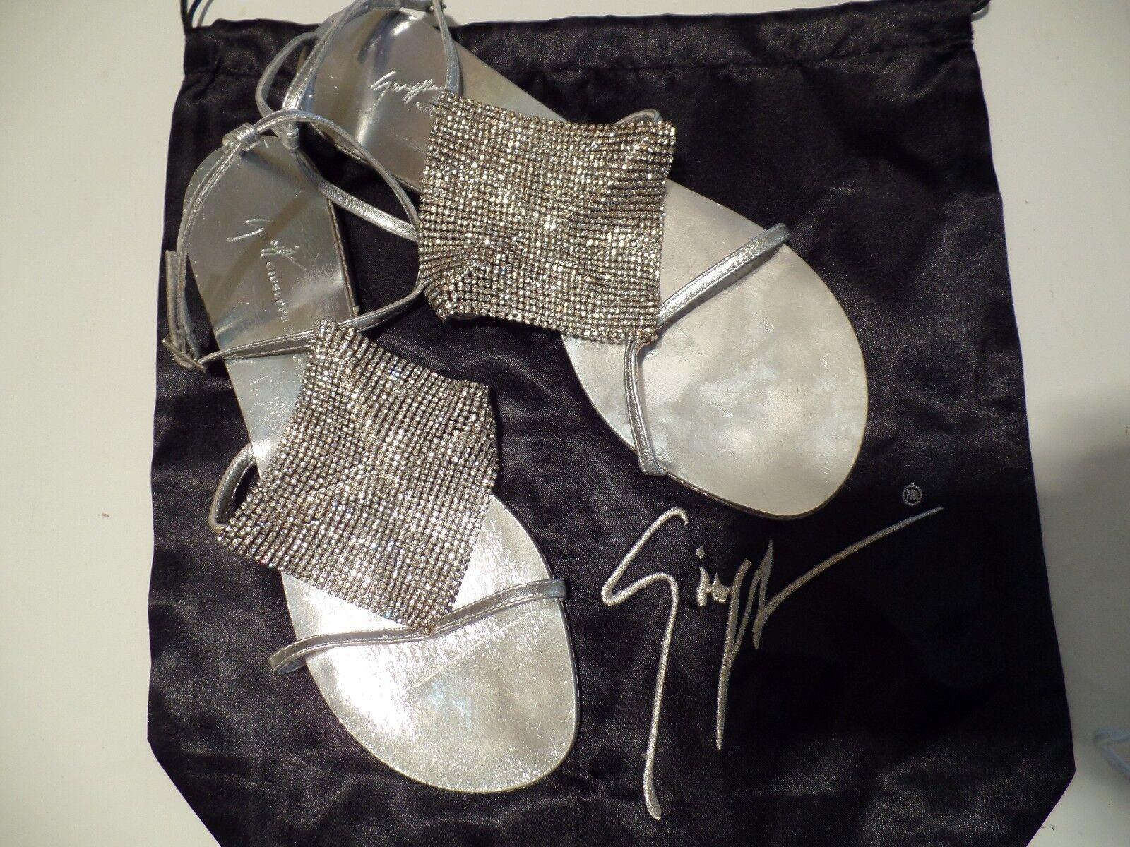 giuseppe zanotti métallique panneaux nwob cristal sandales en cuir métallique zanotti argentée 3b79ee