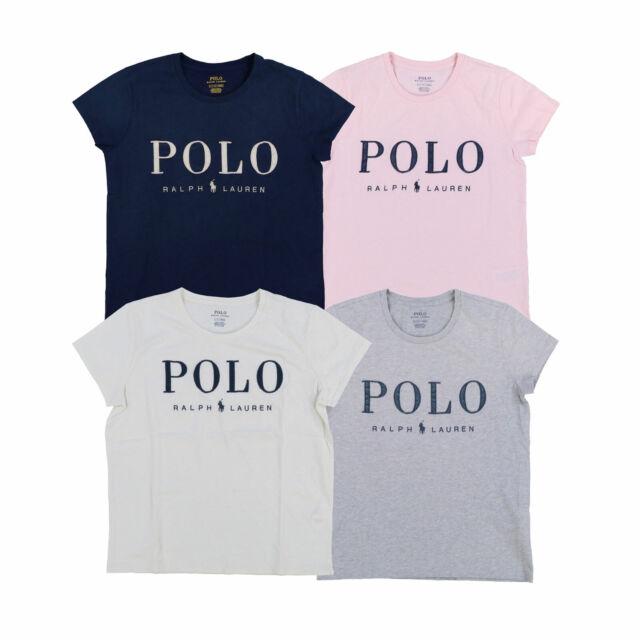 Polo Ralph Lauren Womens Classic Crew T-shirt Embellished Logo New ...