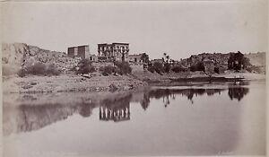 Egitto Philae Foto Albumina Stampa Verso 1890 IN Piccolo Dimensione