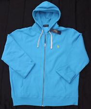 New 3XB 3XL BIG POLO RALPH LAUREN Men's fleece hoodie jacket sweatshirt blue 3X