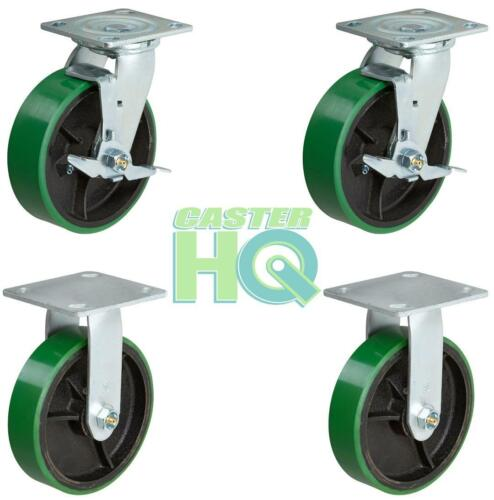 On Iron Swivel//Ridgid Wheel 4 Cart Dolly CASTERHQ 6 inch x 2 inch Green Poly