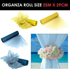 Organza-Tissu-ROULEAUX-fete-de-mariage-Decoration-Chaise-Bows-Table-Runner-Sash-Vendeur-Britannique