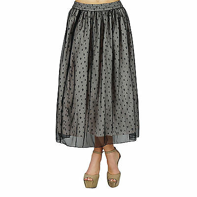 Bimba Women Long Tulip Skirt Double Layer Cotton & Net Ankle Skirt Bottoms India