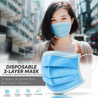 50-Piece Disposable Non Medical Surgical 3-ply Earloop Face Mask