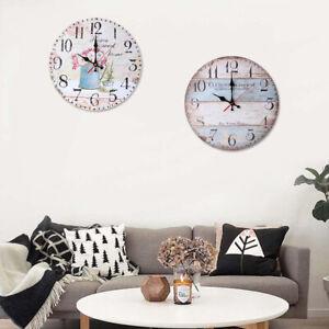 Am-30cm-Vintage-Wooden-Wall-Clock-Arabic-Numeral-Rustic-Bar-Pub-Home-Decor-Stri