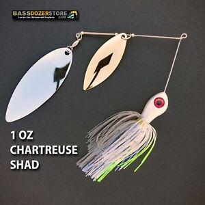 Bassdozer-spinnerbaits-BIG-WILLOW-DOUBLE-1-oz-D-CHART-SHAD-spinner-bait-baits