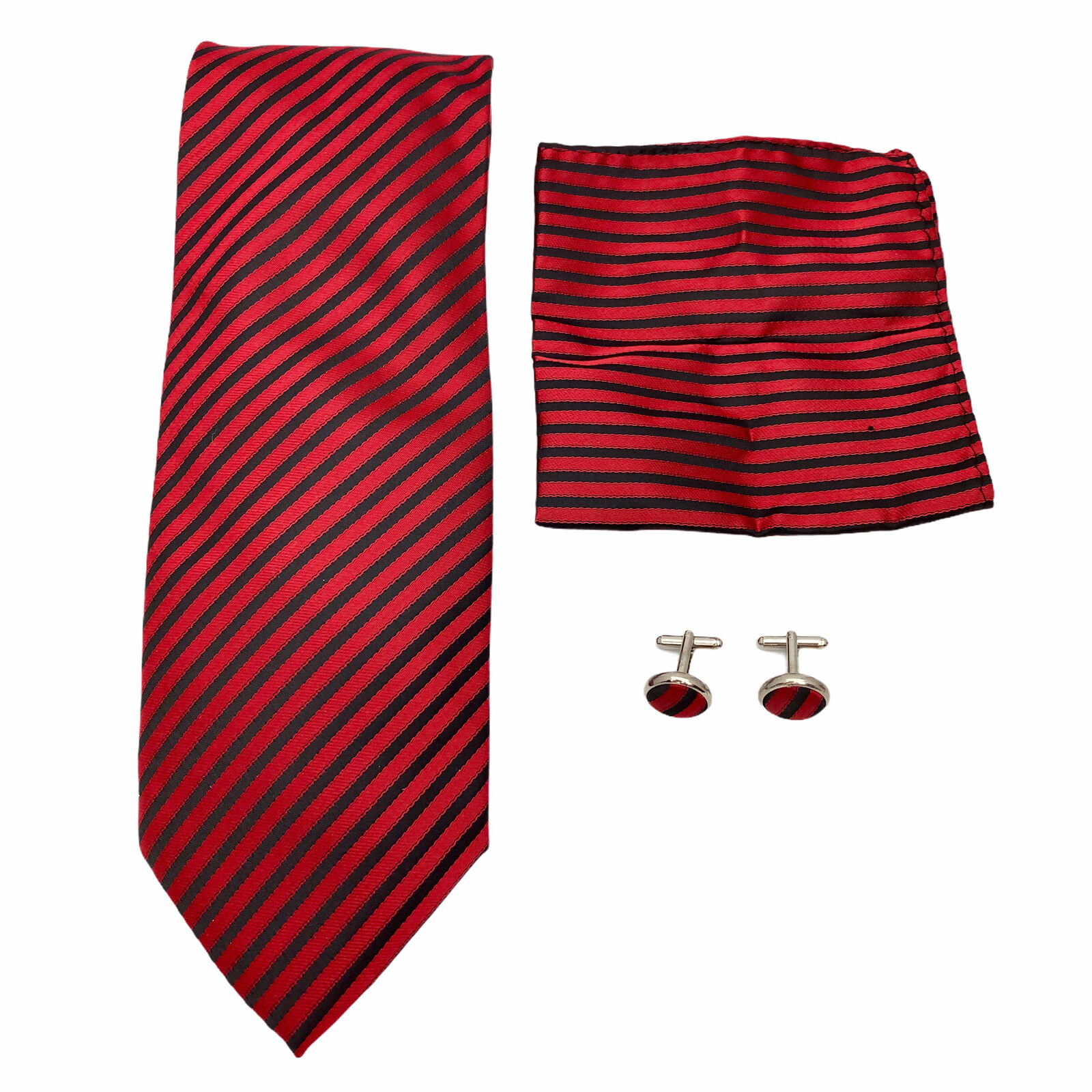A. Vincenzo Red Black Stripe Neck Tie Pocket Square Cufflink Matching Dress Set