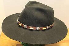 MENS OUTBACK ROAD WARRIOR BLACK COWBOY/WESTERN HAT WOOL/FUR BLEND SIZE 7 VGC