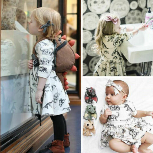 Floral Dinosaur Printed Toddler Sundress Kids Clothing Baby Girl Dresses