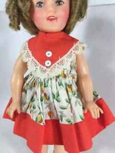 Shirley-Temple-1961-12-034-Doll-Cotton-Print-V-Front-School-Dress-Only-9757-Orange